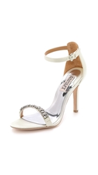 Badgley Mischka Elope Jeweled Sandals White