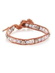 Chan Luu 6Mm Grey Potato Pearl Crystal And Leather Wrap Bracelet Silver Natural