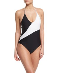 Diane Von Furstenberg Newport Colorblock Halter One Piece Swimsuit Women's Size Small Black White