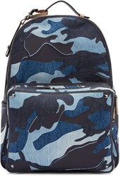 Valentino Blue Denim Camo Backpack
