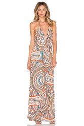 T Bags Losangeles V Neck Halter Maxi Dress Orange