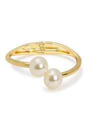 Kenneth Jay Lane Faux Pearl Embellished Gold Plated Cuff Silver