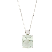 London Road 9Ct White Gold Amethyst Pendant Necklace Green