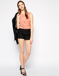 Colorblock Color Block Lace Shorts With Peplum Detail Black