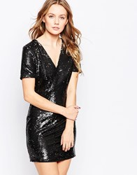 Lashes Of London Mini Dress In Two Tone Sequins Black