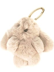Yves Salomon Fur Keyring Nude And Neutrals