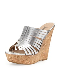 Neiman Marcus Leroy Strappy Metallic Slide On Wedge Silver
