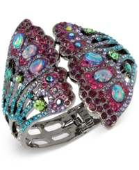 Betsey Johnson Hematite Tone Stone And Pave Butterfly Wing Cuff Bracelet Silver