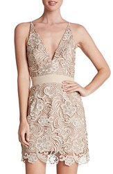 Women's Dress The Population 'Ava' Lace Minidress Nude Nude