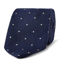 Drakes Drake's 8Cm Polka Dot Wool And Silk Blend Tie Navy