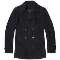Fred Perry Classic Wool Pea Coat Blue