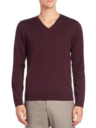 Strellson Milton V Neck Virgin Wool Sweater Burgundy