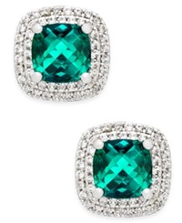 Macy's Lab Created Emerald 1 1 3 Ct. T.W. And White Sapphire 1 3 Ct. T.W. Square Stud Earrings In Sterling Silver