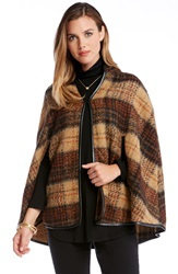 Karen Kane Plaid Cape Brown