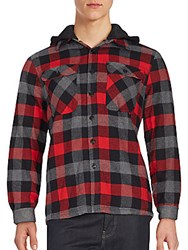 Saks Fifth Avenue Red Long Sleeve Check Shirt Red Grey