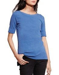 Lauren Ralph Lauren Petite Stretch Cotton Boatneck Tee Soft Sky