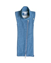 Veronica Beard Denim Moto Style Dickey Blue