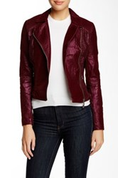 Vertigo Asymmetrical Zip Faux Leather Jacket Red
