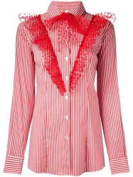 Alcoolique Ruffled Button Down Shirt Red