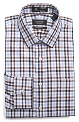 Men's Big And Tall Nordstrom Smartcare Traditional Fit Plaid Dress Shirt Brown Seal