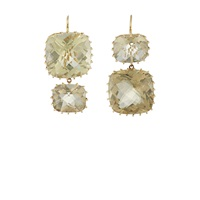 Renee Lewis Green Quartz Double Drop Earrings