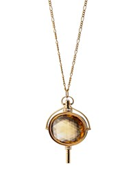 Pocket Watch Key Honey Quartz Oval Necklace Monica Rich Kosann Gold
