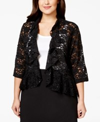 Connected Plus Size Three Quarter Sleeve Lace Ruffle Jacket Black