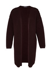 Hallhuber Long Cardigan With Prominent Cross Rib Red
