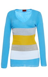 Missoni Long Sleeve V Neck Colorblock Tee Blue