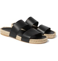 Balenciaga Leather Espadrille Sandals Black