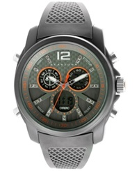 Sean John Men's Analog Digital Gray Silicone Strap Watch 46Mm 10024433