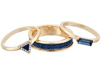 Guess Trio Band Ring Gold Crystal Blue Ring