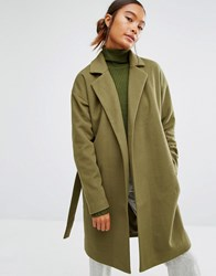 First And I Belted Coat Dark Olive Green