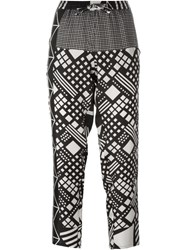 Pierre Louis Mascia Pierre Louis Mascia Geometric Print Tapered Trousers Black