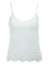 Jane Norman Floral Lace Cami Top White
