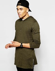 Asos Longline Knitted Hoodie With Side Zips Green