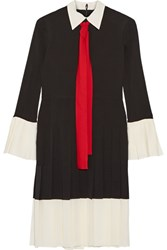 Gucci Pussy Bow Pleated Silk Crepe De Chine Dress Black