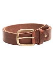 Mango Pebbled Leather Belt Brown