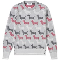 Thom Browne All Over Hector Crew Knit Red