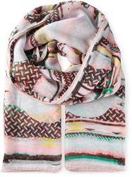 Lala Berlin Abstract Print Scarf Pink And Purple