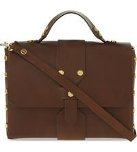 Sandro Abby Leather Satchel Brown