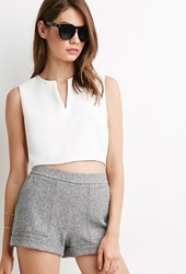 Forever 21 Marled Woven Topstitched Shorts Grey Black