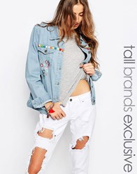 Liquor And Poker Tall Boyfriend Denim Jacket With Heavy Embroidery Blue