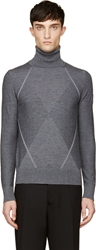 Moncler Gamme Bleu Gray Wool Contrast Knit Turtleneck