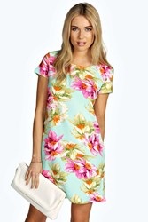 Boohoo Floral Cap Sleeve Shift Dress Mint