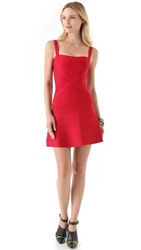 Herve Leger Crisscross A Line Dress Red