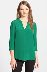 Trouve Women's Trouve Silk Blouse Green Evergreen