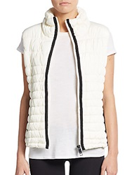 Marc New York By Andrew Marc Performance Faux Leather Paneled Vest Ivory