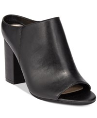 Bar Iii Matilda Peep Toe Block Heel Mules Only At Macy's Women's Shoes Black