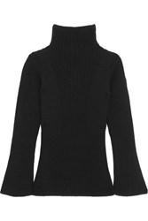 Moncler Maglione Ribbed Wool Turtleneck Sweater Black